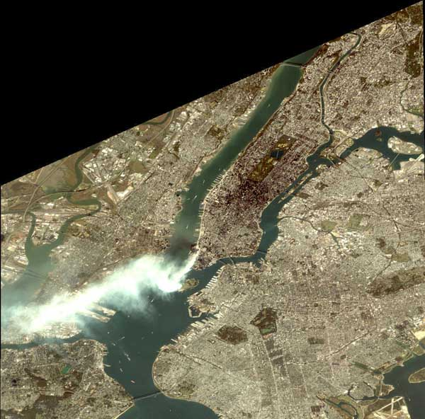 The smoke plume extending into New Jersey.