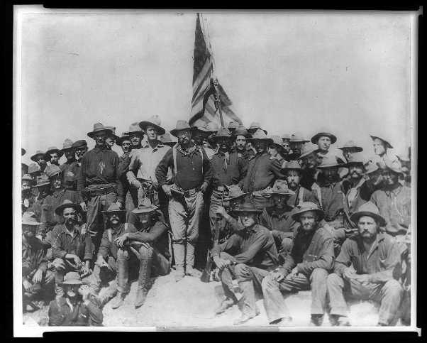 Colonel Roosevelt and the Rough Riders after capturing San Juan Hill